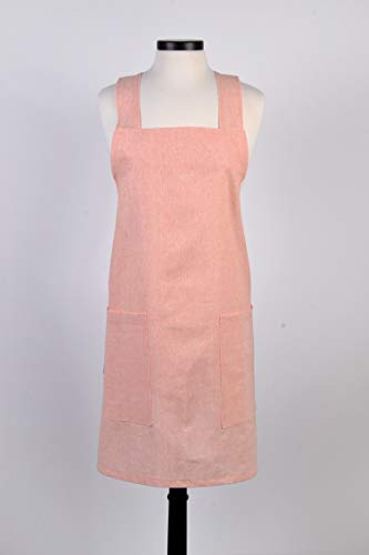 Homespun Linen - Japanese Linen Crossback Apron - Soft Orange Homespun Linen Womens Retro Crossover Pinafore - Vintage Style Kitchen Apron - Two Large Pockets - Personalized Options