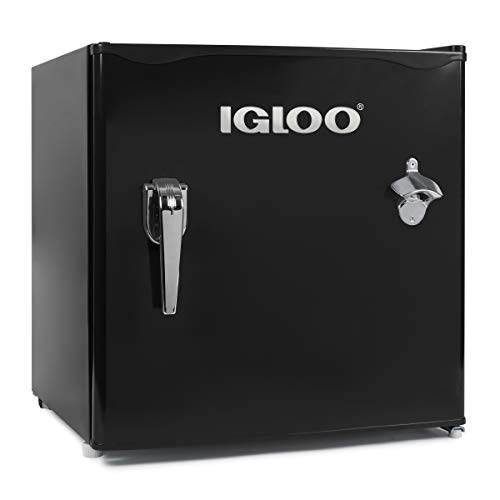 Igloo IRF16RSBK Classic Compact Single Door Refrigerator Freezer w/Chrome Handle & Bottle Opener, 1.6 Cu.Ft, Black