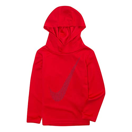 NIKE Children's Apparel Boys' Toddler Long Sleeve Hooded T-Shirt, Gym Red/Obsidian, -