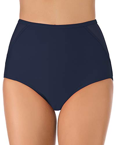 (HAIVIDO Women's Swim Bottoms Full Coverage Ruched Hipster Bikini Bottoms Tankini Swimsuit Briefs Shorts Navy)