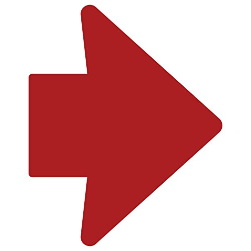 LiteMark 2 Inch X 3 Inch Red Removable Trail Marker Arrow Decal Stickers for Floors and Walls - Pack of 48