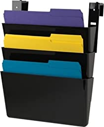 Staples 3 Pocket Cubicle Wall File, Letter Sized, Black