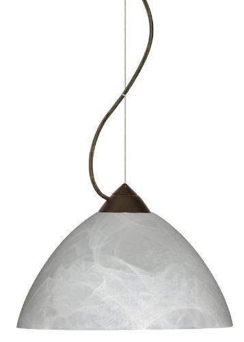 Besa Lighting 1KX-420152-LED-BR 1X6W GU24 Tessa LED Pendant with Marble Glass, Bronze Finish