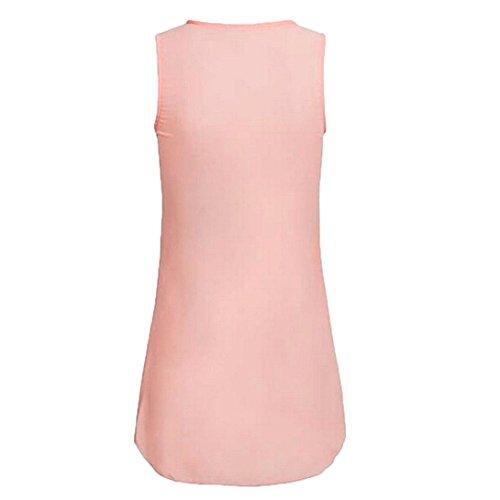 Reißverschluss Frauen Tops DOLDOA Sommer Damen Tank Oberteile Shirt T 5 Rosa wFU5qcZ