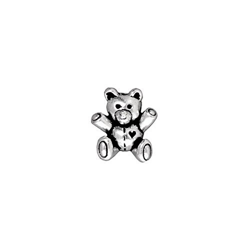 TierraCast Teddy Bear Bead, 13.75mm, Antiqued Fine Silver Plated Pewter, (Pewter Teddy Bears)