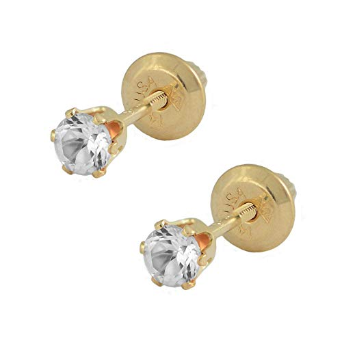 (14K Yellow Gold Simulated April Birthstone Girls Earrings With Genuine White Topaz)