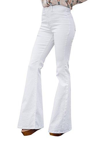 Ybenlow Women Classic High Waist Flared Skinny Denim Jeans Bell Bottom Pants White Wide Leg Jeans