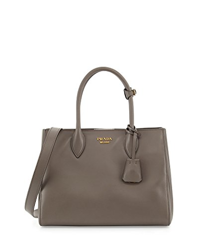 - Prada Bibliotheque City Calf Shopping 1BG098 Argilla Tote
