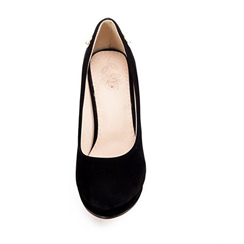 Balamasa Ladies Pull-on Solid Frosted Pumps-Zapatos Negro