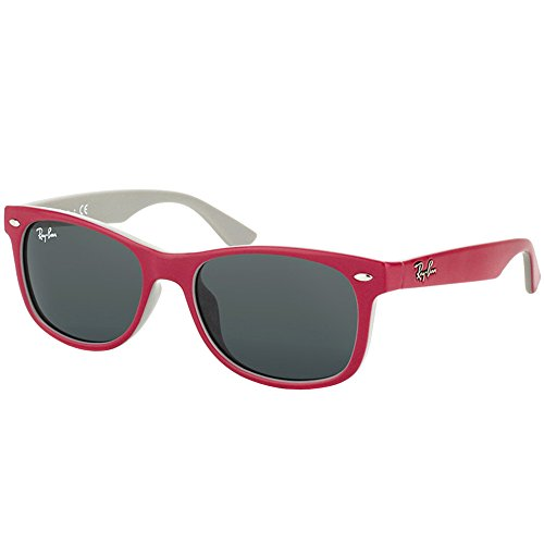 Red Ray Ban Sunglasses - Ray-Ban JUNIOR RJ9052S RJ9052SF Sunglasses 177/87-50 - Topaz Red/Fuxia On Gray Frame, Grey