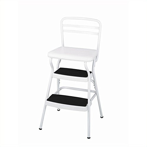 Cosco 11130WHTE White Retro Counter Chair / Step Stool with Lift-Up Seat