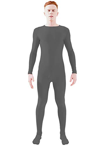Ensnovo Adult Lycra Spandex One Piece Unitard Full Bodysuit Costume Dark Gray, M -