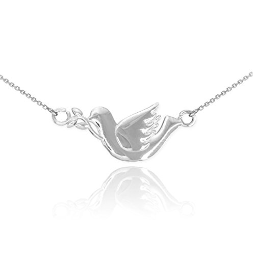 High Polish 925 Sterling Silver Peace Dove with Olive Branch Pendant Necklace, 18