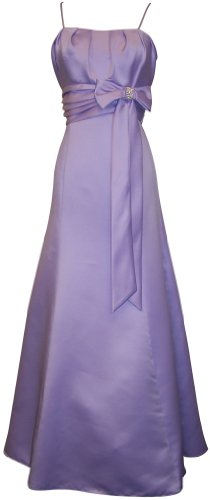 50s Style Long Satin Prom Dress Bridesmaid Gown With Bow Junior Plus Size, XS, Lavender