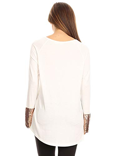 5df05f5cfd7f1c Anna-Kaci Women's Long Sleeve Rose Gold Embellished Sparkle Sequin Cuff Tunic  Top