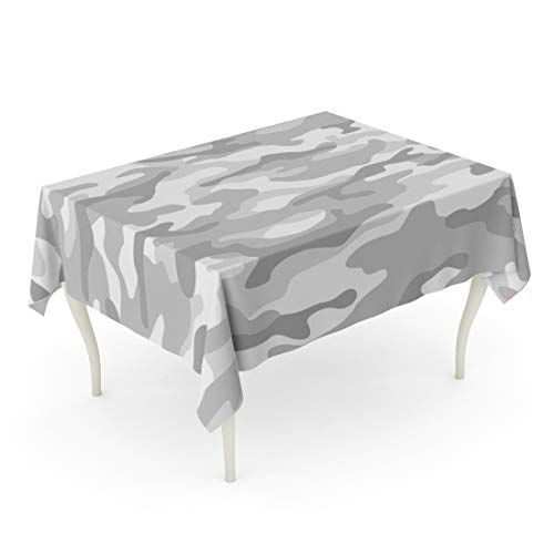 Tarolo Rectangle Tablecloth 60 x 84 Inch Khaki Camo Military Camouflage Monochrome Light Grey Gray Snow Abstract Army Combat Commando Table Cloth