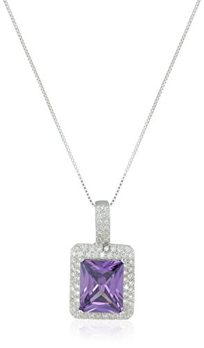 ELYA Jewelry Womens Sterling Silver Radiant-cut Amethyst Purple Colored Cubic Zirconia Double Halo Pendant Necklace, White/Purple, One Size (Amethyst Cubic Zirconia Pendant)