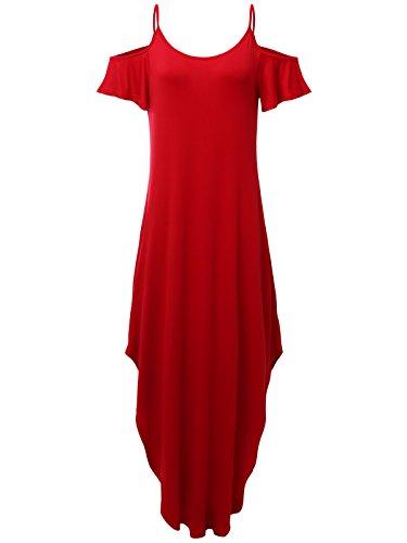 JayJay Women Casual U-Neck Off Shoulder Ruffle Sleeve Long Maxi Dress,RED,M