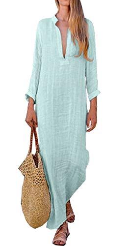 Light Sleeve Maxi Neck Long Long Blue Women AU Linen V Casual Solid Dress Cotton QianQian qStOPX