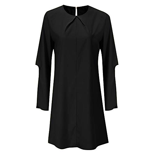 ANJUNIE_coats Swing Dress,Women Winter Long Bell Sleeve O Neck Above Knee Dress Ladies Beach Party Dresses(Black,M)