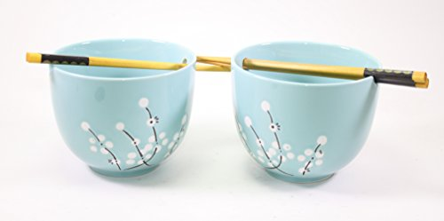 Set of 2 Blue Flower Bowls and 2 pairs of Wooden Chopsticks Home Decor Utensils