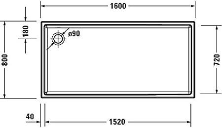 Plato de Ducha Rectangular Duravit Starck Slimline, 160x80 cm ...