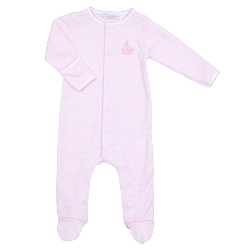 Magnolia Baby Baby Girl Classic Sailboats Embroidered Footie Pink 12 Months