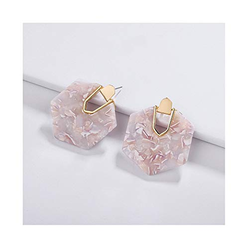 YUJIAXU Modern Disc Shape Abalone Shell Statement Earrings with Gold Inside Rim Geometric Design ()