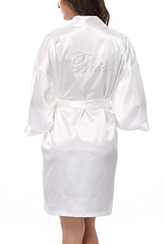 Kimono Outlet Wedding Short Kimono Robe for Bride, With Rhinestones White M
