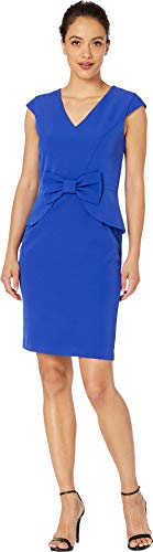Tahari by ASL Women's Petite Cap Sleeve Stretch Crepe Dress with Bow Detail Royal 4 Petite