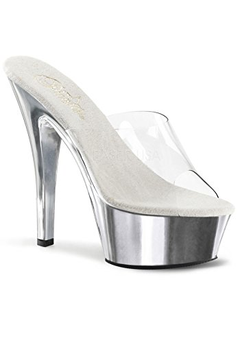 Pleaser KISS-201 Clr/Slv Chrome Size UK 5 EU 38