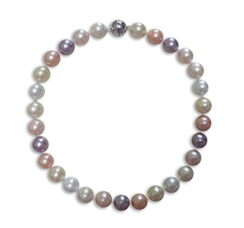 Stunning 14mm Shell Pearl Necklace & Silver Magnetic Clasp (Multi Pastel) ()