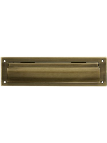Solid Brass Magazine - Solid Brass Magazine Size Mail Slot Front For Exterior Mounting in Antique Brass.