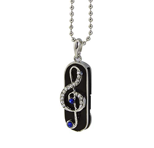 (ShinyDiamond USB Flash Drive 32GB, FIRSTMEMORY Musical Note Jewelry Flash Drive USB 2.0 Pen Drive with Necklace Novelty Thumb Drive)