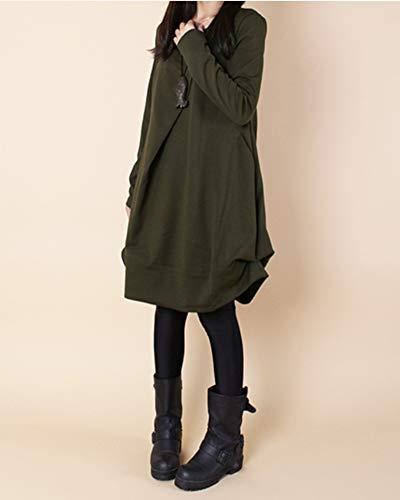 Robe Dianshaoa Femmes Pull Vert Robes Poches Armée Longue Dress Longues Manches Casual Asymétrique xBCoerd