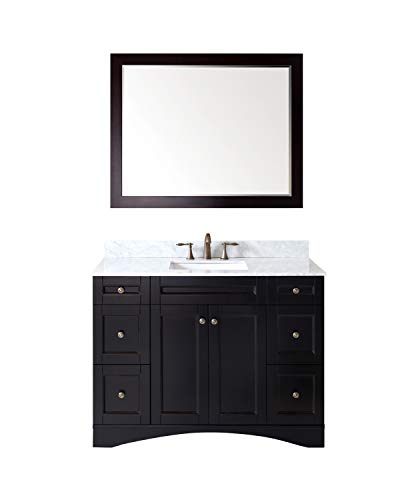 Virtu USA Elise 48 inch Single Sink Bathroom Vanity Set in Espresso w/ Square Undermount Sink, Italian Carrara White Marble Countertop, No Faucet, 1 Mirror - ES-32048-WMSQ-ES