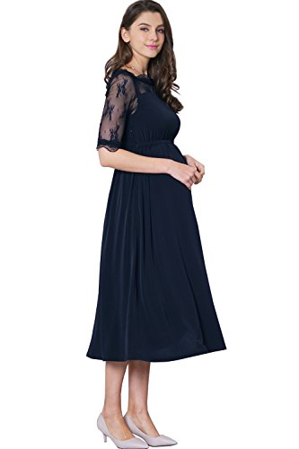 Maternity Nursing Breastfeeding Summer Formal Classic Baptism Dress Baby Shower Party 3/4 Lace Sleeve, Navy, L (US Size: 8-10)