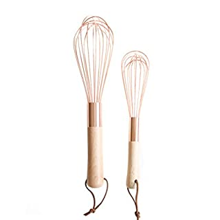 Hemoton 2PCS Egg Whisk Egg Beater Stainless Steel Wood Handle for Cooking Blending Whisking Beating with Rope (Size S,L)