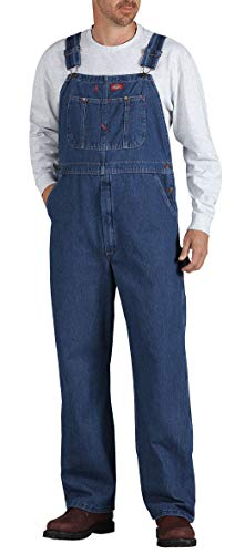 Dickies Men's Denim Bib Overall, Stone Washed Indigo Blue, 34 x 30