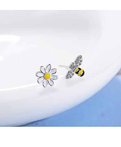 925 Sterling Silver Asymmetrical Sun Flower Bees Charm Stud Post Earrings For Women Girls Jewelry
