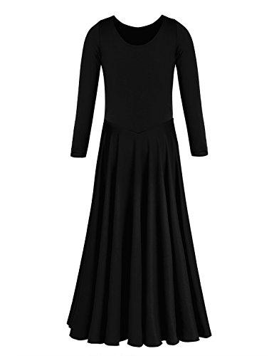 TiaoBug Girls Praise Liturgical Loose Fit Full Length Long Sleeve Ballet Dance Dress Costume Black 12