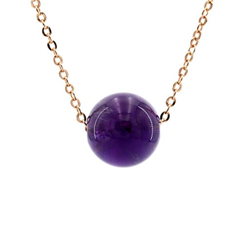 MISS RIGHT Dainty Chakra Gemstone Ball Beaded Charm Orgone Pendant Necklace Gold Plated Rose Quartz Amethyst Opal Jewelry for Women Girls -