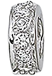 Zable Sterling Silver Thin CZ Spacer Bead