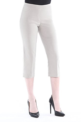 (Vincenté Women's Super Slimming Perfect Comfort Fit Pull On Capri Pants for Women with Contoured Waistband and Tummy Control, Color Stone Size 14)
