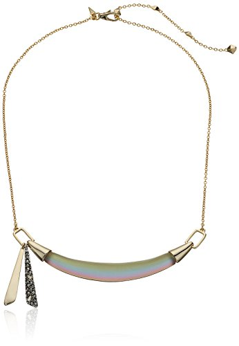 Alexis Bittar Small Lucite Bib Strand Necklace with Crystal Encusted Tassel, New Labradorite, One - Lucite Necklace Bittar Alexis