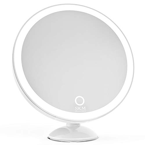 SKM Lighted Vanity Makeup Mirror with 23 LEDs, 1X/5X Magnifying Countertop Cosmetic Mirror with Touch Screen and Locking Suction, Gift to Women, Mom, Teen Girl