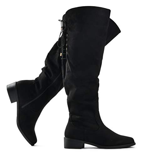 - LUSTHAVE Women's Knee High Flat Boots Lace Up Cushioned Lining Drawstring Tall Western Riding Boots Black 9