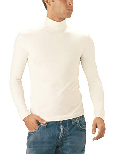 Coutures Montant Italy Pull Sans Made Bleu Manches Longues Col Seamless In Sensi' Microfibre Homme Perspirante qz1xOt