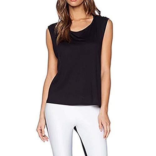 Women Causal Soild Tank Top O-Neck Cross Bandage Camisole Vest Sleeveless Halter Camis Blouse Black