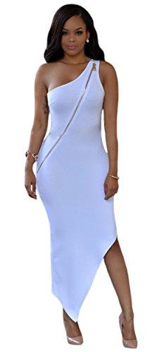 Kearia Womens Sexy One Shoulder Big Gold Zipper Front Bodycon Party Midi Dress White Medium